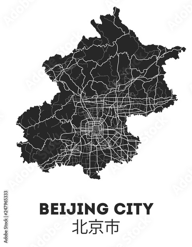 Fototapeta Area map of Beijing, China. Beijing city street map