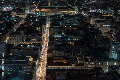 Fototapety, obrazy: Mexico city cathedral aerial night view