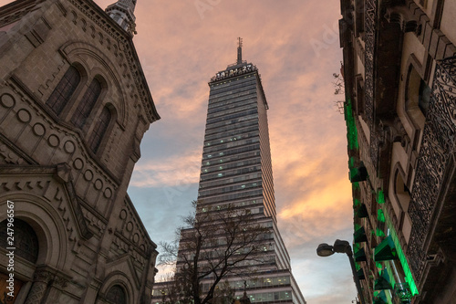 latin american tower mexico city at sunset #247966567