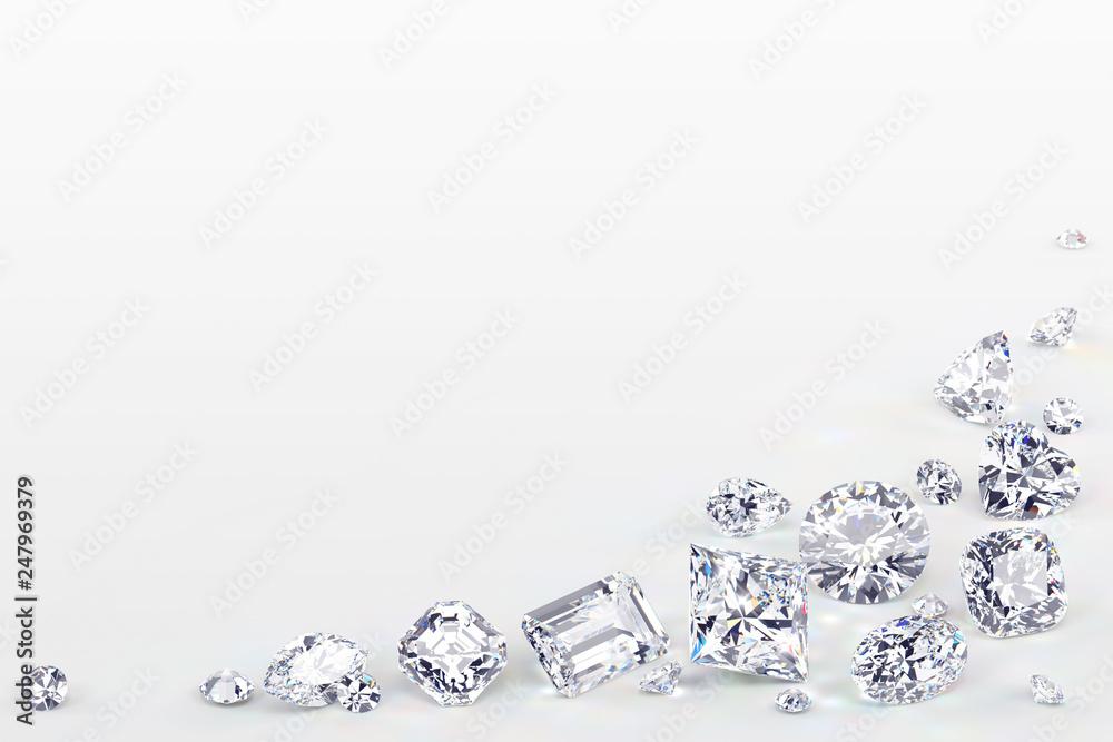 Fototapeta Variously cut diamonds scattered along the image corner on white background