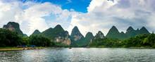 Panoramic View Of Li River Scenic Cruise In China