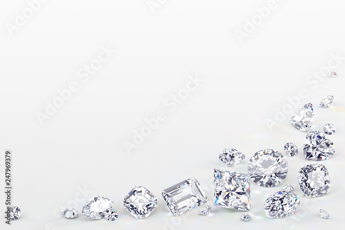 Variously cut diamonds scattered along the image corner on white background Wallpaper Mural