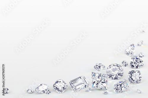 Variously cut diamonds scattered along the image corner on white background Fototapeta