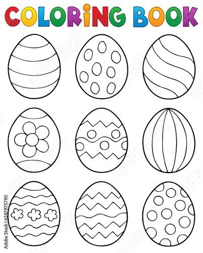 Staande foto Voor kinderen Coloring book Easter eggs theme 2