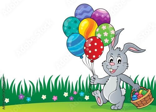 Staande foto Voor kinderen Easter bunny with balloons image 2