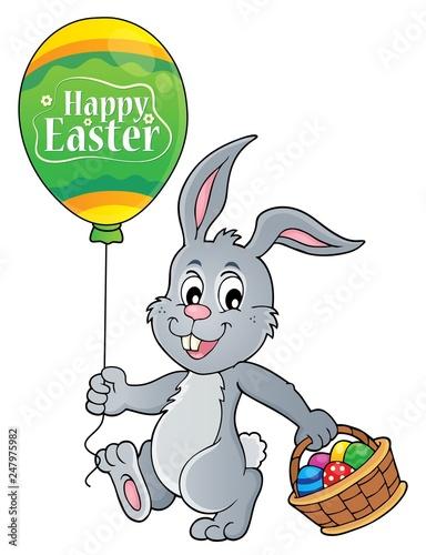 Staande foto Voor kinderen Easter rabbit with balloon image 1