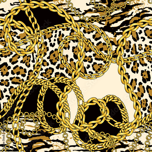 fototapeta na ścianę Golden chains and necklaces with wild animal fur abstract vector seamless pattern