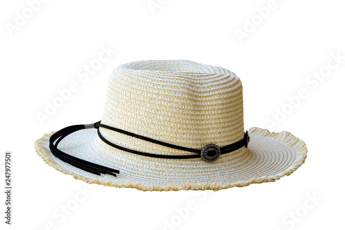 f5fe206cca388 Vintage pretty straw hat isolated on white background. Beside view ...