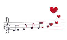 Music And Hearts On Note Lines