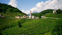 View Of The Green Prosecco Wine Hill And Blue Sky In Background - Rolle - Cison Di Valmarino - Strada Del Prosecco - Chiesa Dei Santi Giacomo E Filippo - Borgo Tutelato Dal FAI