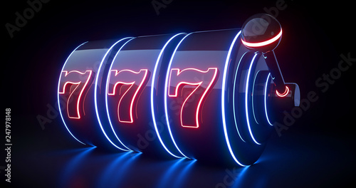 Fotografia  Futuristic Slot Machine Concept With Red And Blue Neon Lights Isolated On The Bl
