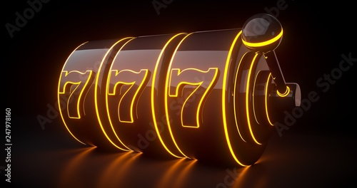 Futuristic Slot Machine Concept With Orange Neon Lights Isolated On The Black Background - 3D Illustration - 247978160