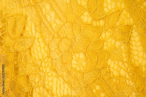 Cuadros en Lienzo Lace fabric background, yellow lace fabric