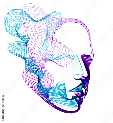Obraz Spirit of digital electronic time, Artificial Intelligence vector illustration of human head made of dotted particles wave lines, particle flow, technological soul of machine. - fototapety do salonu