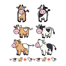 Cute Cow Collection Cartoon Vector Illustration Motif Set