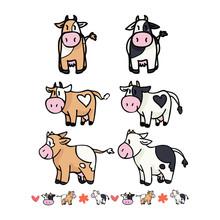 Cute Cow Collection Cartoon Ve...