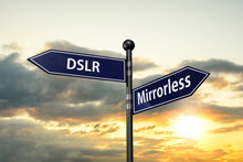 Arrow Road Signs Of Words Dslr And Mirrorless On The Sunset Sky. 3D Illustration