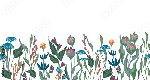Fototapeten Künstlich Seamless vector floral border with hand drawn herbs and flowers. Pattern endless with blossom flower. Floral seamless border with flowers illustration