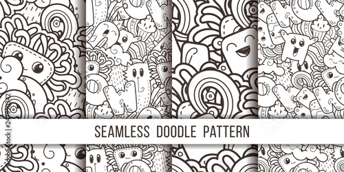 fototapeta na drzwi i meble Collection of seamless vector patterns with cute cartoon monsters and beasts. Nice for packaging, wrapping paper, coloring pages, wallpaper, fabric, fashion, home decor, prints etc