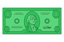 One Dollar Isolated On White Background. Vector Illustration