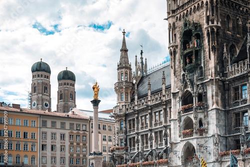 Fotografiet  MUNICH, GERMANY- June 25, 2018: Street view of downtown Munich, Germany
