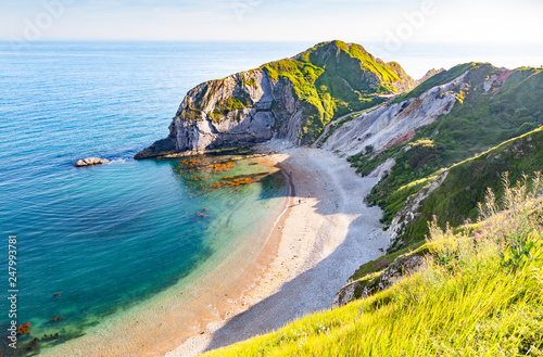 Photo aerial view of Jurassic Coast of  Dorset,  UK- British summer holiday destinatio