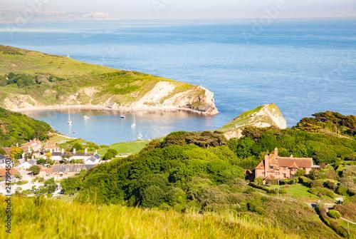 Photo aerial view of Lullworth cove on Jurassic Coast of  Dorset,  UK- British summer