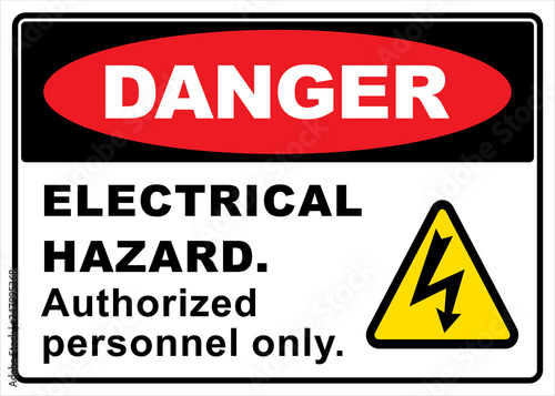 Fotografie, Obraz  danger electric hazard sign