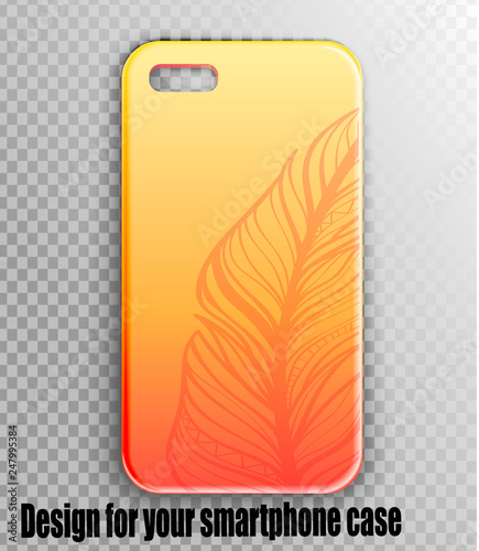 5ac47fc8cda7cb Vector design iphone case mockup - feather print on orange gradient  background