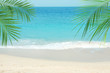 Sandy ocean beach and tropical palm leaves on sunny day