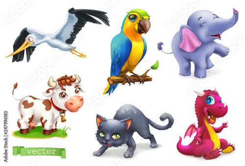 Śmieszne zwierzęta. 3D zestaw ikon wektorowych. Bocian, papuga, słoń, krowa, kot, smok