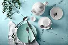 Simple Table Setting On Color Background