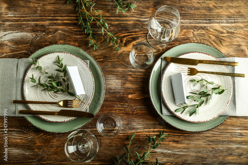 Obraz Simple table setting on wooden background - fototapety do salonu