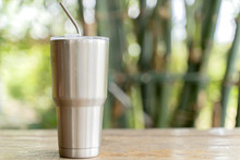 Stainless Steel Tumbler With Stainless Straw Keeping Of The Drink Cold Or Hot.