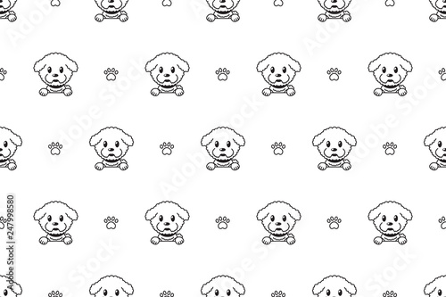 Vector cartoon character bichon frise dog seamless pattern for design Canvas-taulu