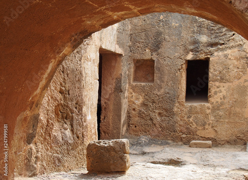 Recess Fitting Old building view of underground arch and doorway at the tomb of the kings in paphos cyprus forming and ancient street like corner view