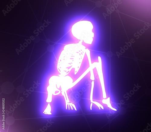 Human skeleton posing  Ready to jump  3D rendering