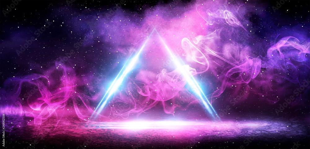 Fototapeta Background of an empty wall, a ray of light in the basement, smoke, neon light. Magic