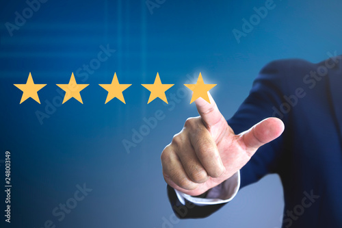 Fotografie, Obraz  Rating with five stars for a satisfaction and enjoyment
