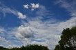 Blue sky and beautiful clouds on a sunny day Used as a background image