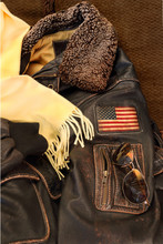 Flight Jacket And American Flag