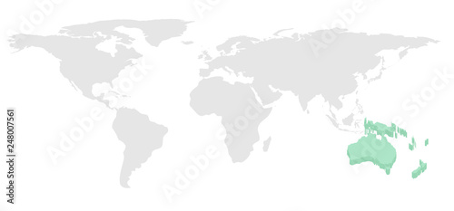 Fotobehang Noord Europa World map vector 3D on Australia continent and gray on another continent, isolated on white background, flat design for background of infographic, web design, annual report or travel background