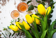 Yellow Tulips With Glasses Of ...
