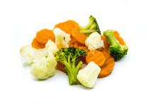 Broccoli Carrots Cauliflower Kaisergemüse Isolated On White Background