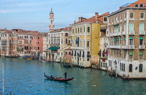 Fototapety, obrazy: Grand Canal and Basilica Santa Maria della Salute, Venice, Italy and sunny day