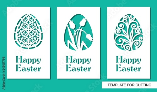 Foto Set of greeting card with eggs and text Happy Easter