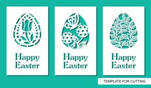 Set Of Greeting Card With Eggs And Words Happy Easter. Floral Pattern And Plant Theme. White Object On A Green Background. Template For Laser Cutting, Wood Carving, Paper Cut Or Printing.