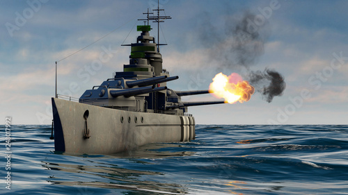 3d illustration of a battleship firing with heavy caliber guns Fotobehang