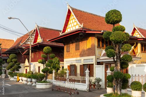 houses of the monks of the Wat Chanasongkhram Ratchaworamahawihan, Bangkok, Thai Wallpaper Mural