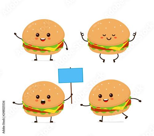 Fotografía  Cute smiling happy funny cute burger